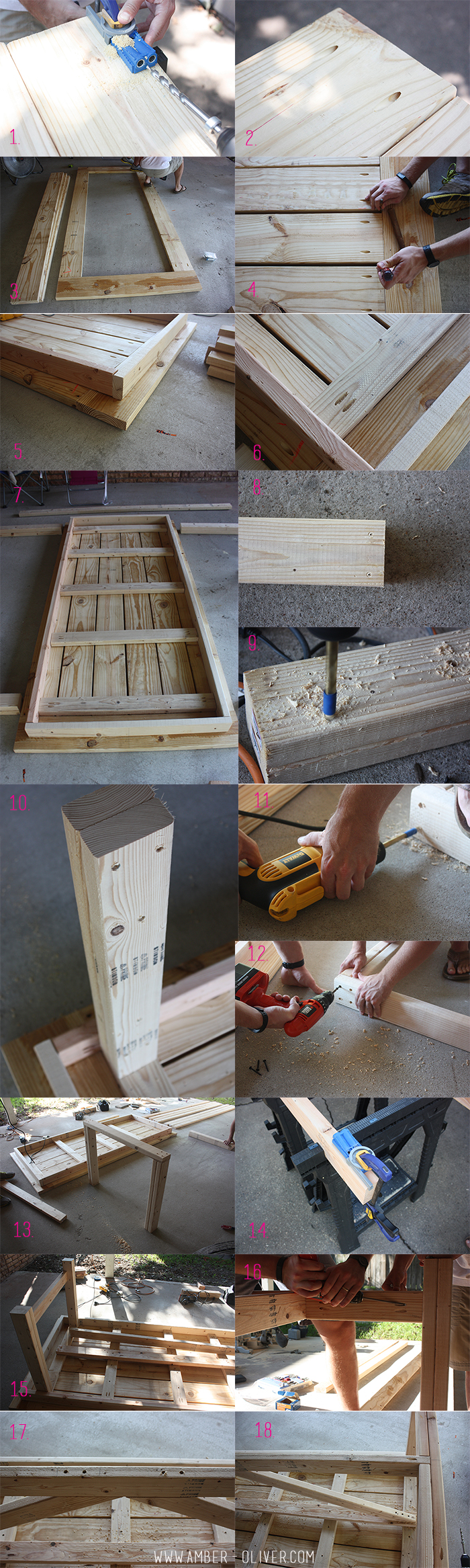 indoor outdoor DIY Farmhouse table plans with cut list DIY patio table by Amber Oliver