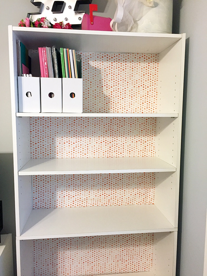 DIY Fabric backed bookshelf