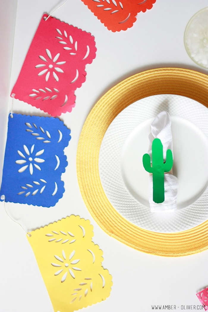 DIY Cinco de Mayo party decor! papel picado banner, DIY cactus napkin ring, and drink flags! FREE DOWNLOAD for Silhouette
