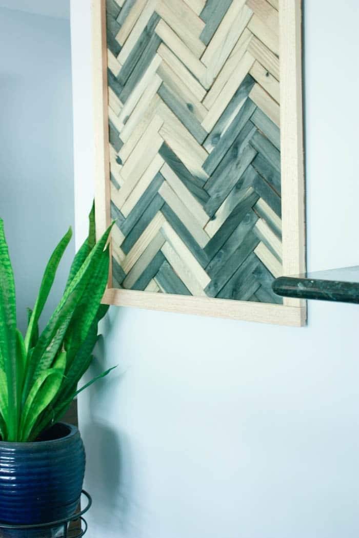 DIY shim wall art - DIY wall art using wood shims - DIY wood shims wall art - Wall art using wood shims. DIY wall art ideas that are cheap and easy!