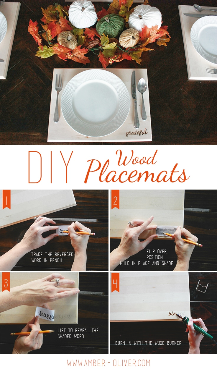 How to make diy wood placemats with custom wood burned words.