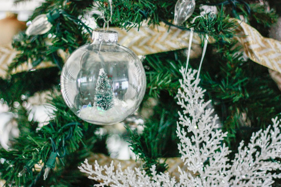 Diy Snow Globe Ornament Fill Clear Bottle Brush Tree Decoration