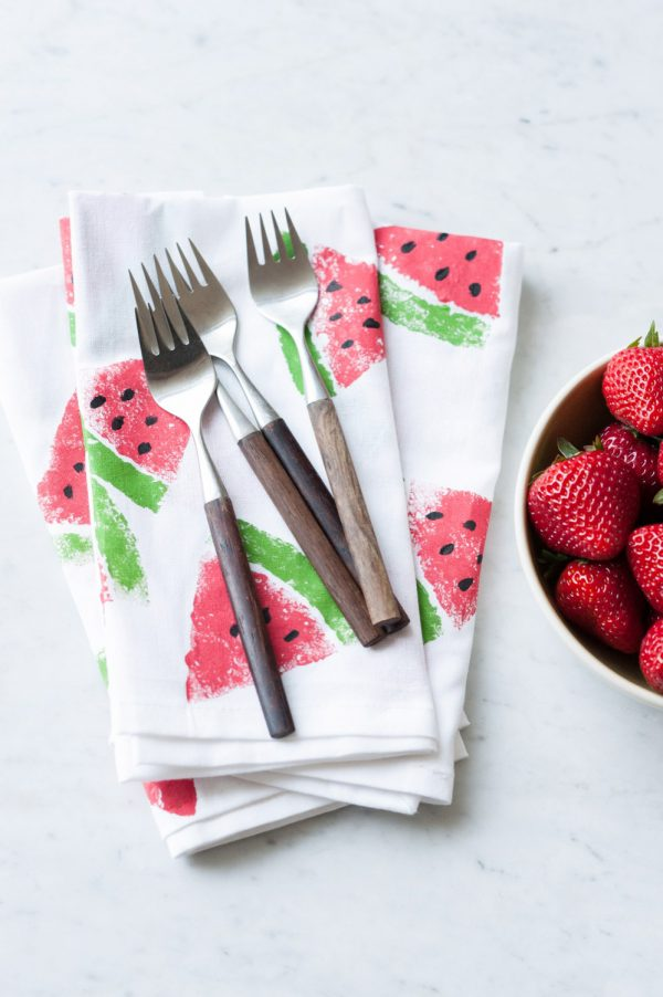diy watermelon printed napkins