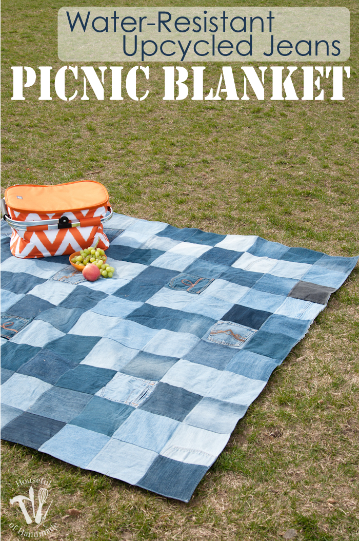 diy upcycled jeans picnic blanket