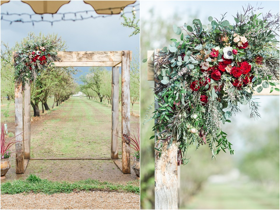 Dreamy Spring Almond Orchard Wedding Durham California Burgundy Blush Gold,