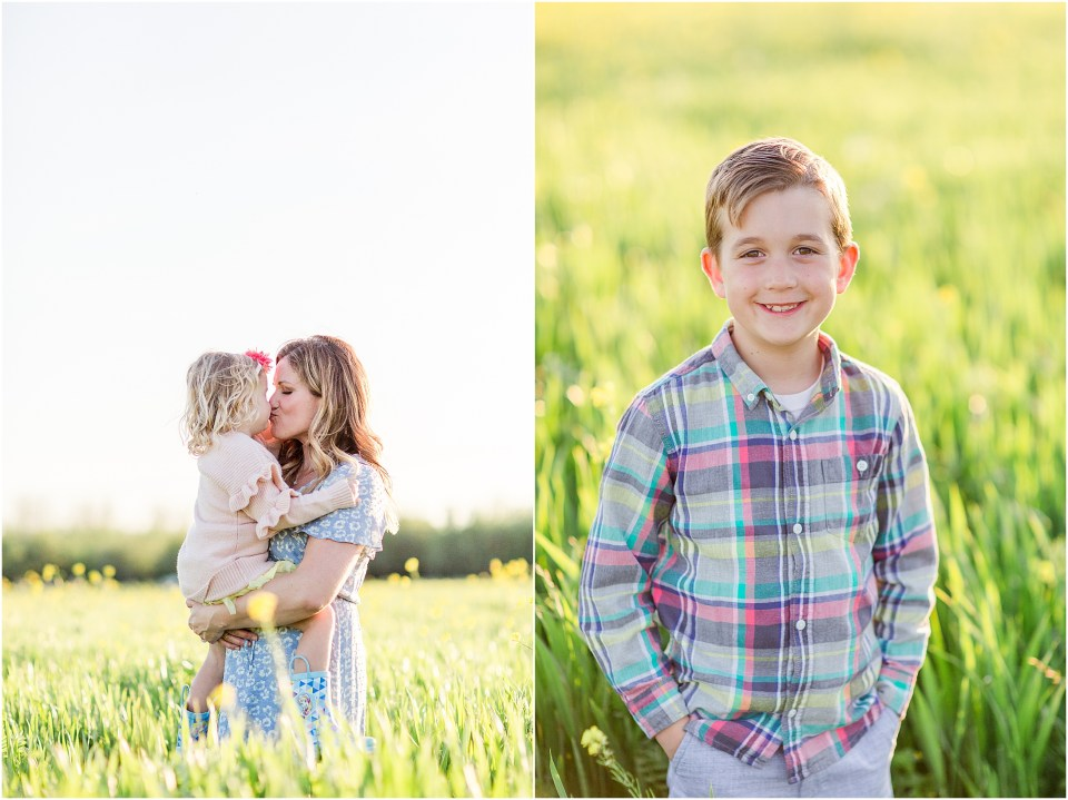 Wheat Field Flowers Chico California Family Session Mother Daughter Son,