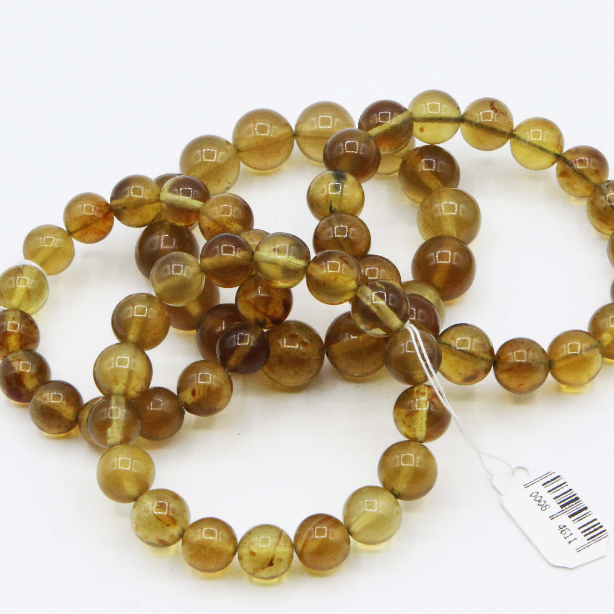Indonesia Amber 10 11mm Yellow Brown Bead Bracelet Amber