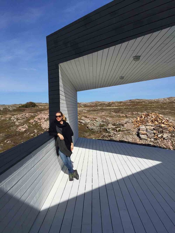 Juliet Kinsman at one of her favourite boutique hotels: Fogo Island Inn.