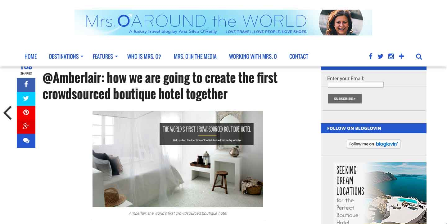 Amberlair Crowdsourced Crowdfunded Boutique Hotel - Ana Silva O'Reilly from Mrs. O around the world