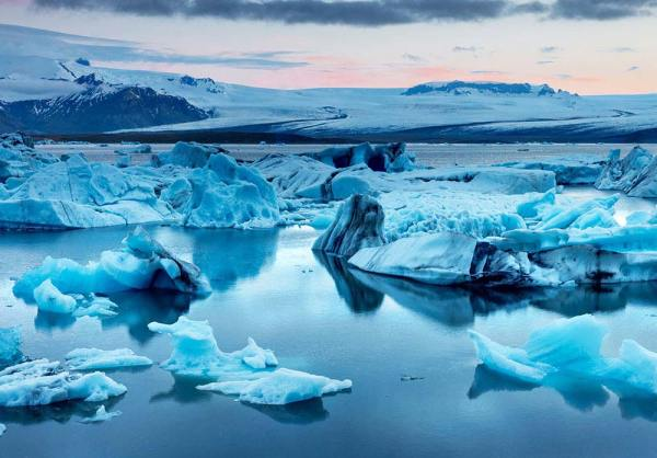 The Jokulsarlon glacier lagoon in Iceland during a bright summer night