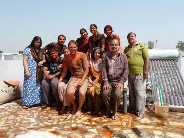 Our new Indian family at Holi in India.