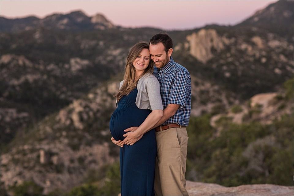 maternity_mount-lemmon_pregnant-mother_blue-dress_super-moon_sunset_09