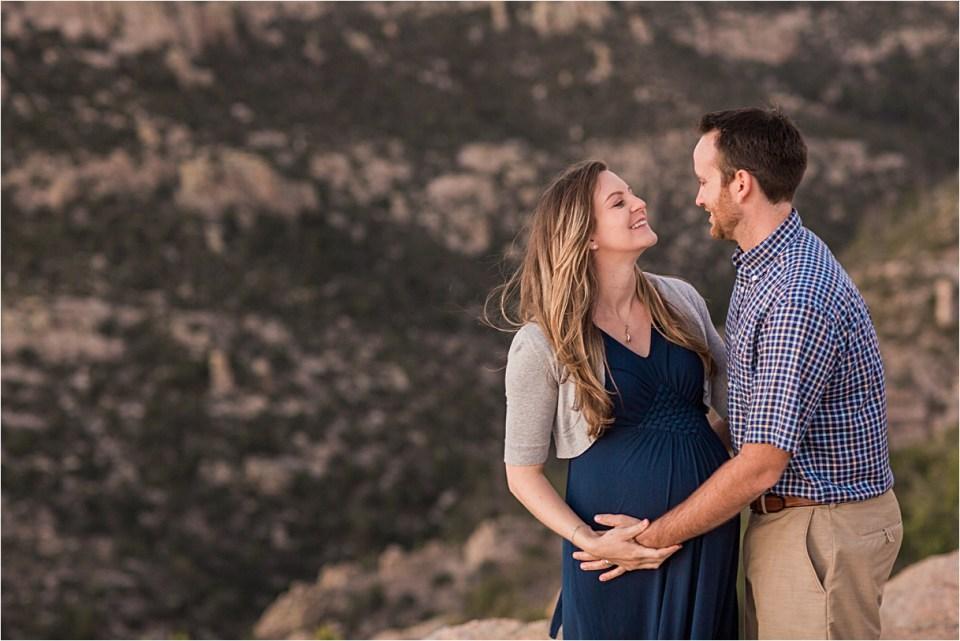 maternity_mount-lemmon_pregnant-mother_blue-dress_super-moon_sunset_11
