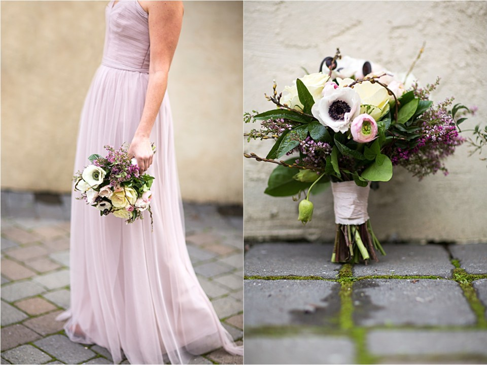 Lavender and ivory bouquet created by Willow and Plum.