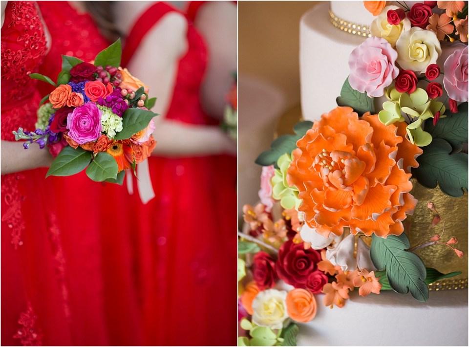 Sugar flowers on a wedding cake.