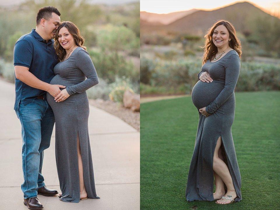 Tucson sunrise desert maternity session at JW Starr Pass Marriott