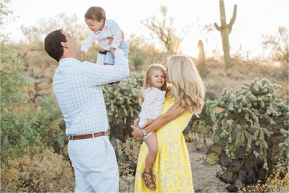 Family playing in Honeybee Canyon in Tucson, Arizona