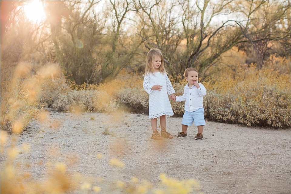 Brother and sister in Honeybee Canyon in Tucson, Arizona