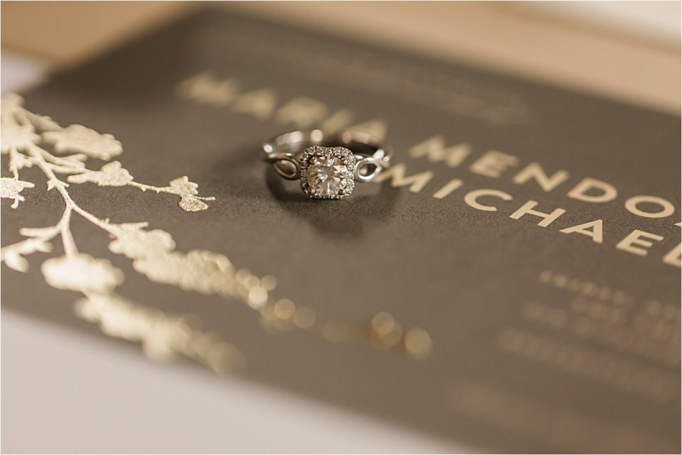 Engagement ring with invitation suite.