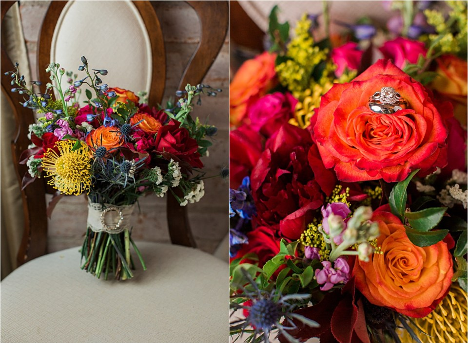 Bridal bouquest of red roses, blue thistle, pink peonies and yellow mums.