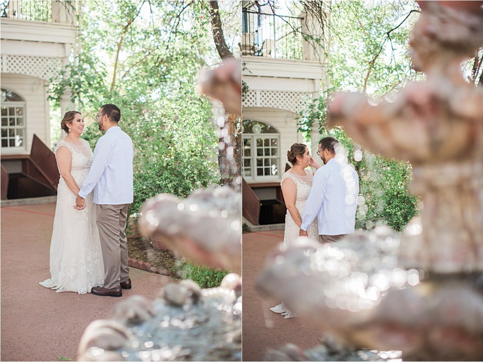 Bride and Groom having their first look at Z Mansion, Tucson, Arizona.