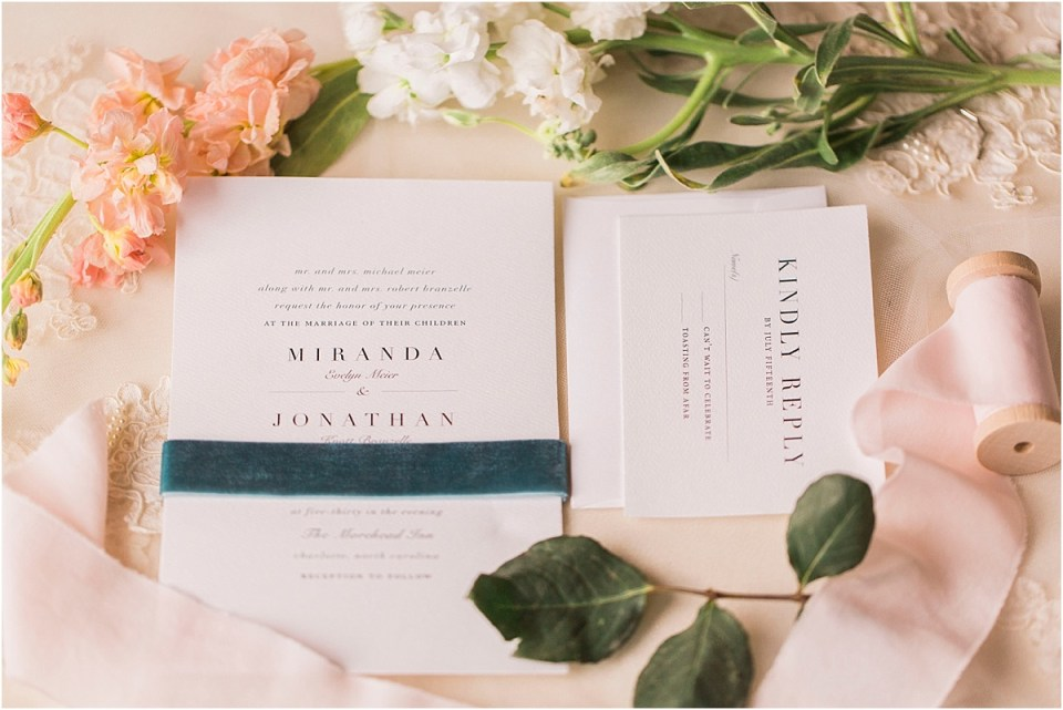 Wedding invitation with wedding florals.