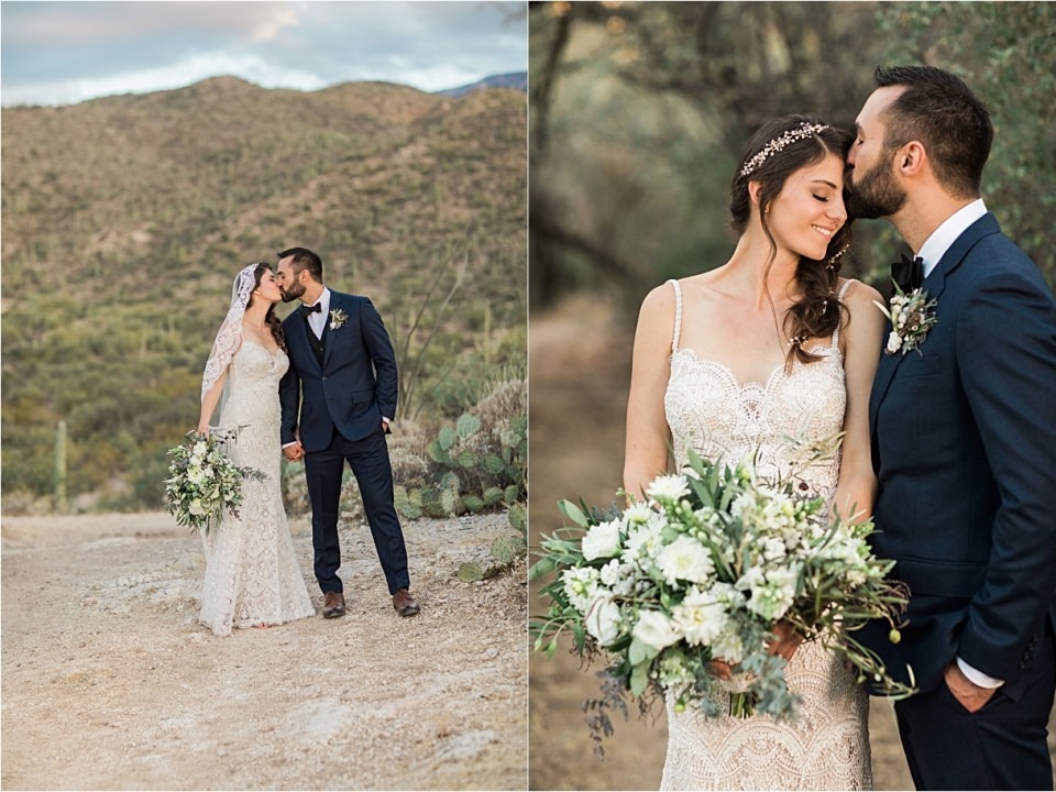 Bride and Groom at Tanque Verde Ranch Wedding