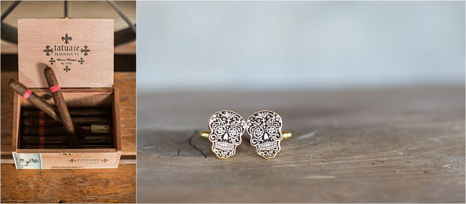 Skull cufflinks grooms details at Tanque Verde Ranch Weddings.