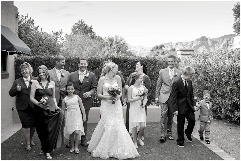 Bridal party portrait at Historical Arizona Inn, Tucson, Arizona