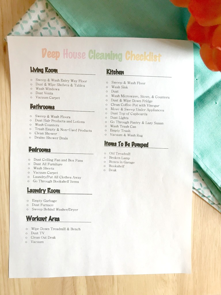 deep cleaning checklist, cleaning
