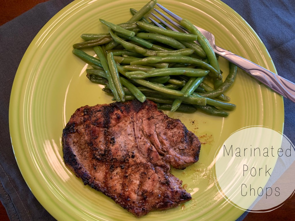 Marinated and grilled pork chops!