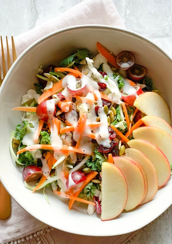 Salads are so versatile and can be full of nutrients. This kale and apple salad is healthy, light, refreshing, and easy to whip together.