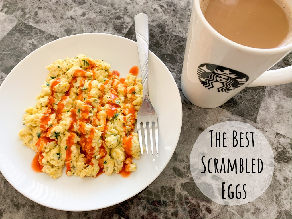 Scrambled eggs are an easy protein option for a vegetarian lifestyle, and this is my go-to way to make them taste delicious!