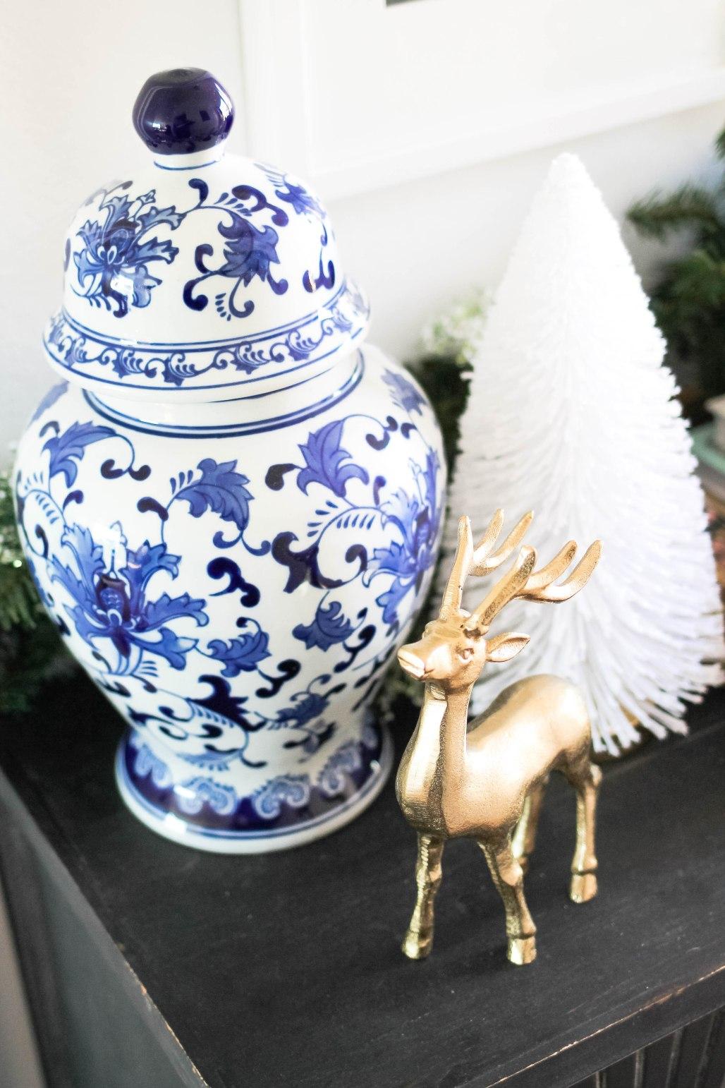Williams Sonoma Porcelain Lidded Temple Jar