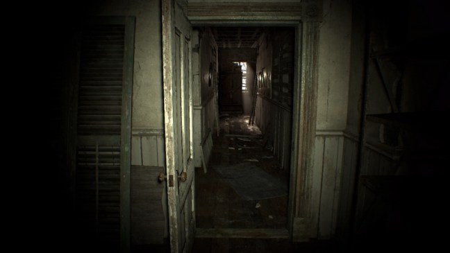 A creepy, old hallway in an abandoned house