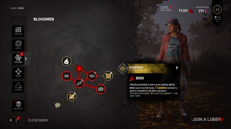 Dead By Daylight's Bloodweb feature