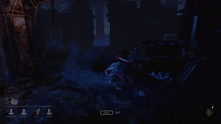 Meg repairing a generator in-game