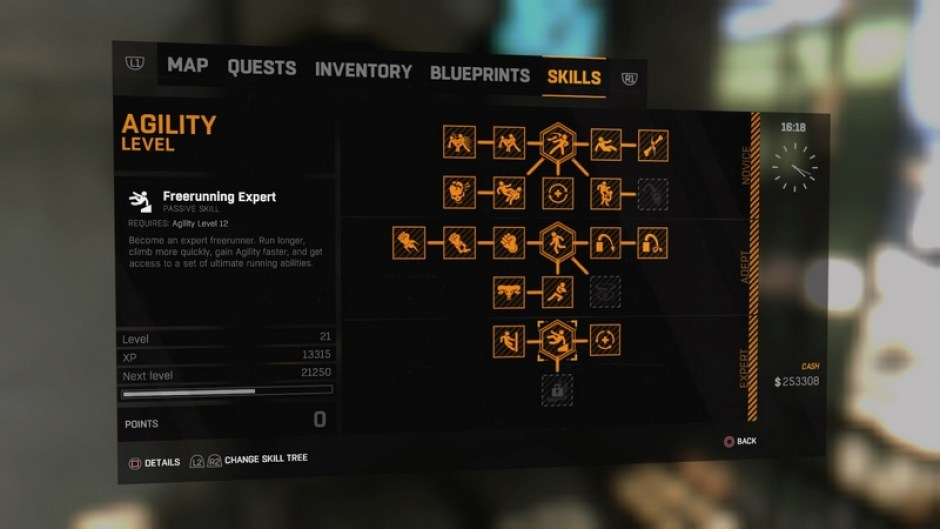 An example of the Dying Light skill tree