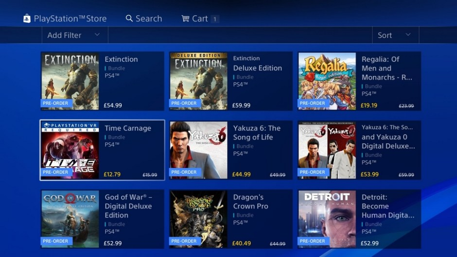 Screenshot of the PlayStation Store pre-order page