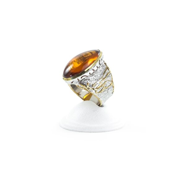 silver-ring-with-amber-stone-relict