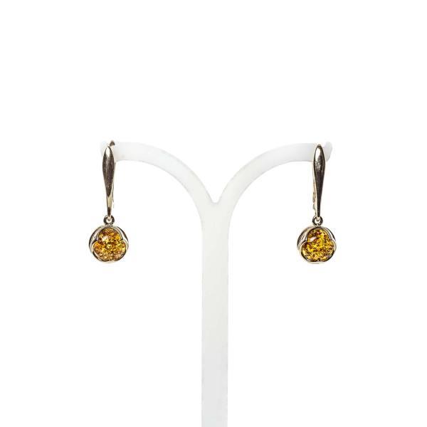 14k Gold/Amber Earrings Cognac