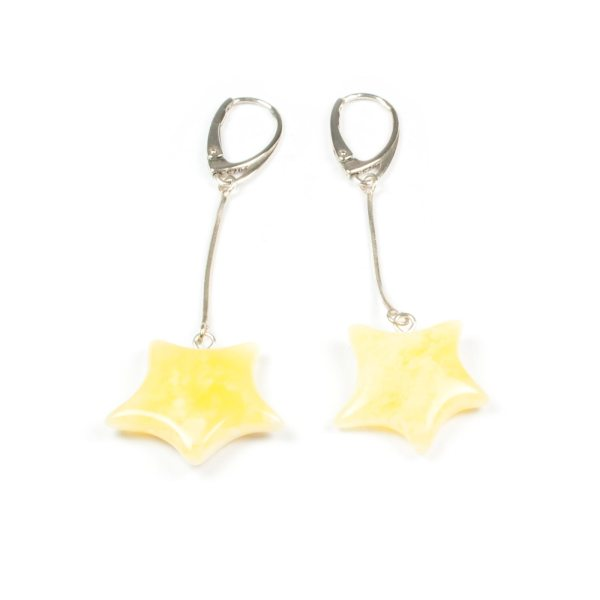 natural-baltic-amber-earrings-on-silver-chain-and-silver-clasp-stars