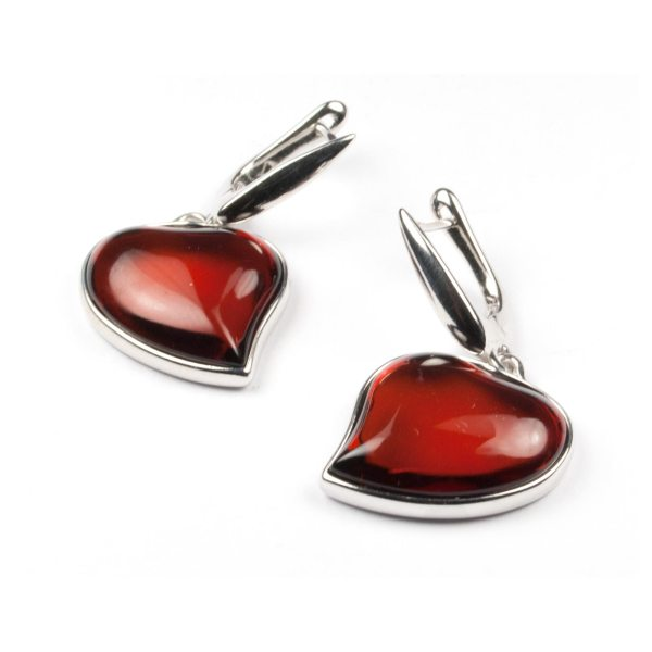 silver-earrings-with-cherry-natural-baltic-amber-two-hearts