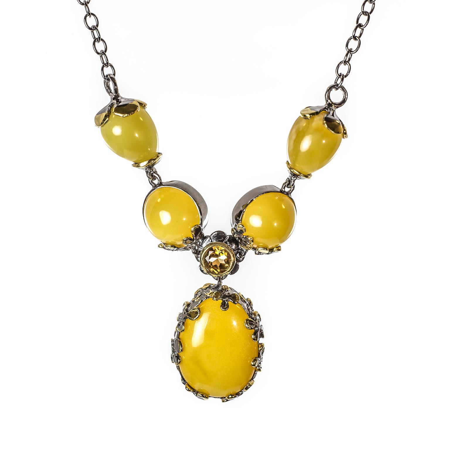 Amber Sterling Silver Faceted Classic Flower Pendant
