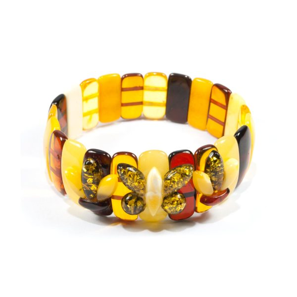 colorful amber bracelet with butterfly
