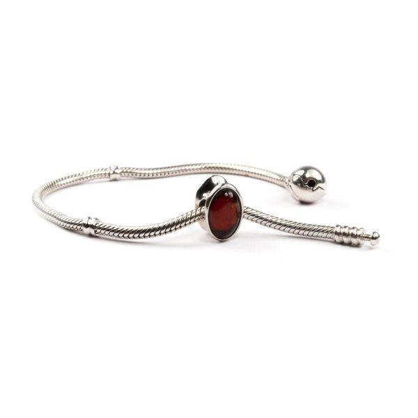 Pandora Style Bead with Cherry Amber on Bracelet
