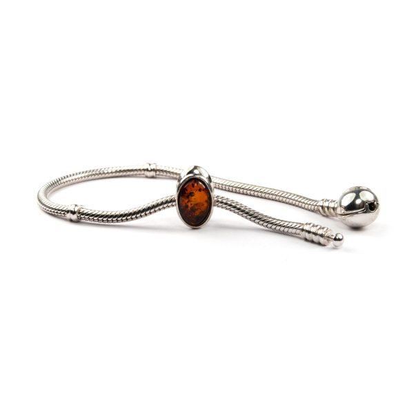 Pandora Style Bead with Cognac Amber with Bracelet