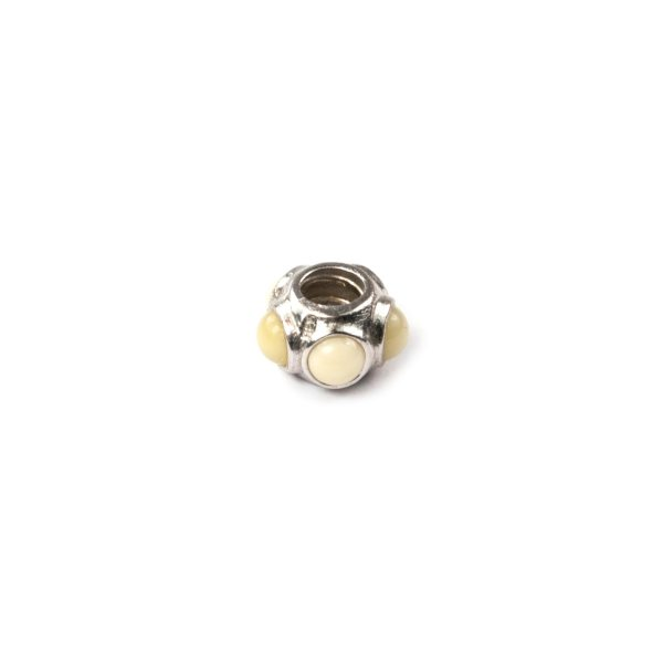 Silver Charm with Amber Side