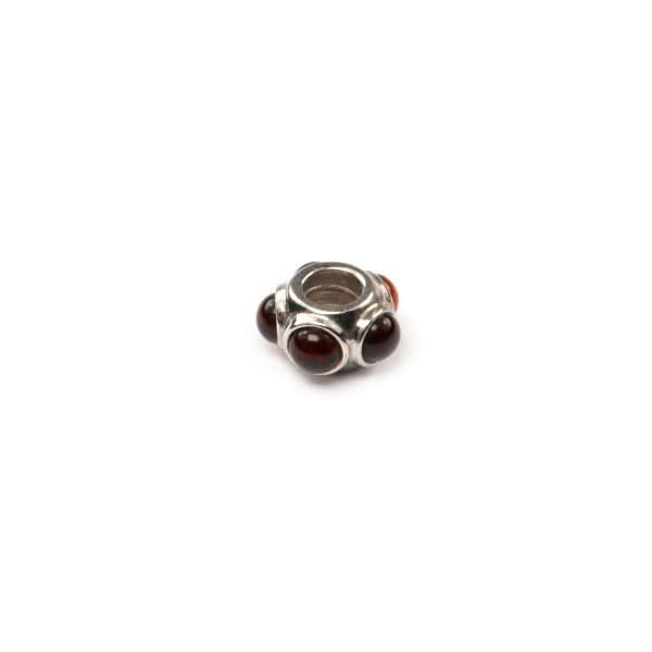 Silver Charm with Cherry Amber Side