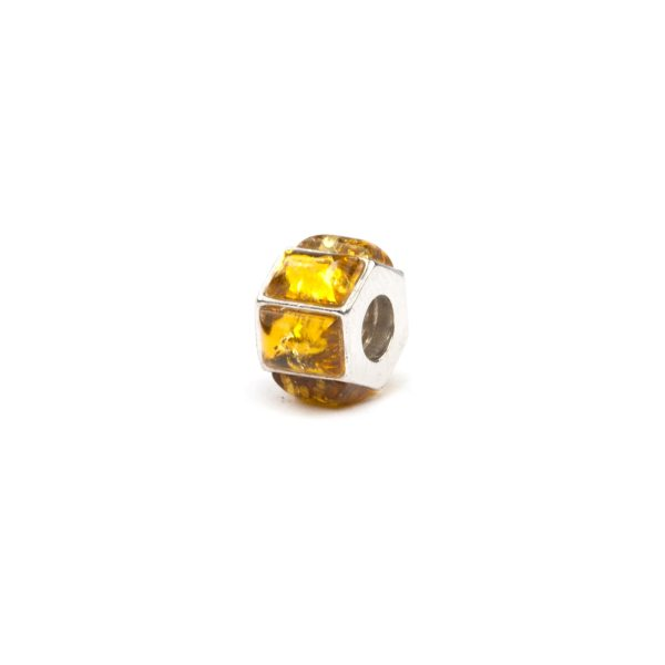 Sterling Charm wirh Yellow Amber Beads SIde